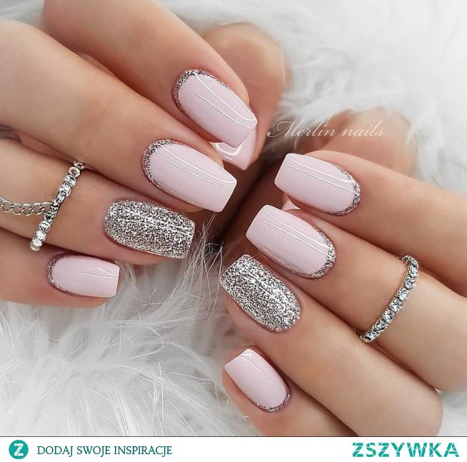 #paznokcie #róż #silver