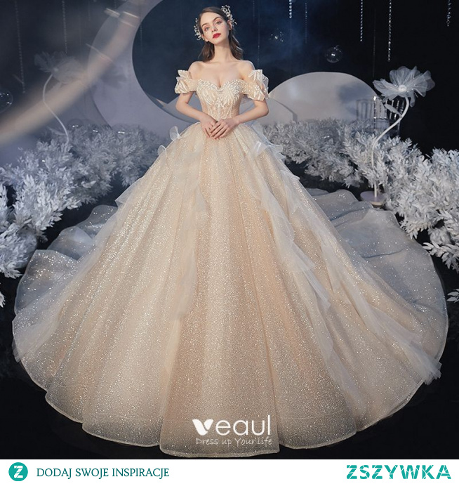 Piękne Szampan ślubna Suknie Ślubne 2020
