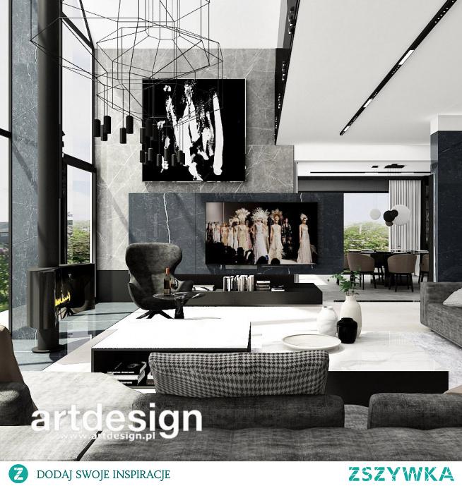Salon w nowoczesnym domu z antresolą i dużym przeszkleniem. | REACH FOR THE STARS | Wnętrza domu