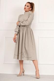 Beżowa sukienka ze stójką