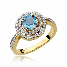 Złoty pierścionek z diament...