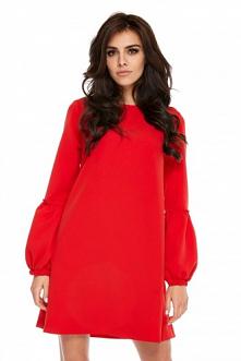 Czerwona sukienka z bufiast...