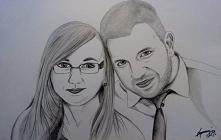 Portret, szkic, małżeństwo, narysowane w 2019 roku. format A4.
