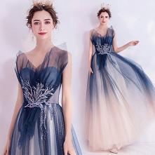 Piękne Granatowe Sukienki Wieczorowe 2020 Princessa Bez Ramiączek Frezowanie Cekiny Z Koronki Kwiat Bez Rękawów Bez Pleców Długie Sukienki Wizytowe