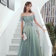 Uroczy Limonkowy Sukienki Wieczorowe 2020 Princessa Przy Ramieniu Frezowanie Cekiny Kótkie Rękawy Bez Pleców Długie Sukienki Wizytowe