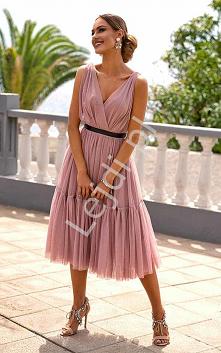 Przepiękna sukienka Paris z tiulu w kolorze brudnego różu. Tiulowa sukienka n...