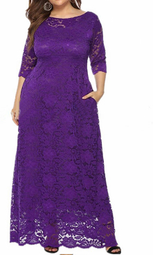 This long purple bridesmaid dresses with empire waist to create perfect body ratio. A-line silhouette and sheer lace half sleeves are helpful to cover fat; Pocket is very useful...