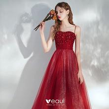 Eleganckie Burgund Sukienki...