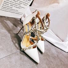 Uroczy Białe Sandały Damskie 2020 Skórzany Rhinestone X-Bar 10 cm Szpilki Szpiczaste Ślub Sandały