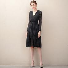 Uroczy Czarne Sukienki Wieczorowe 2020 Princessa V-Szyja Cekiny Rhinestone Szarfa Długie Rękawy Długość do kolan Sukienki Wizytowe