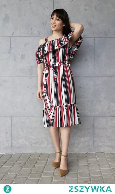Czerwono-Czarna Sukienka Typu Hiszpanka w pasy