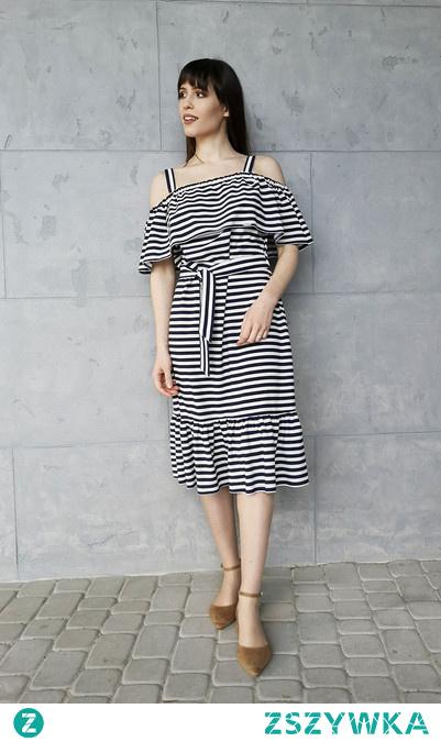 Czarno-Biała Sukienka Typu Hiszpanka w Podłużne Pasy