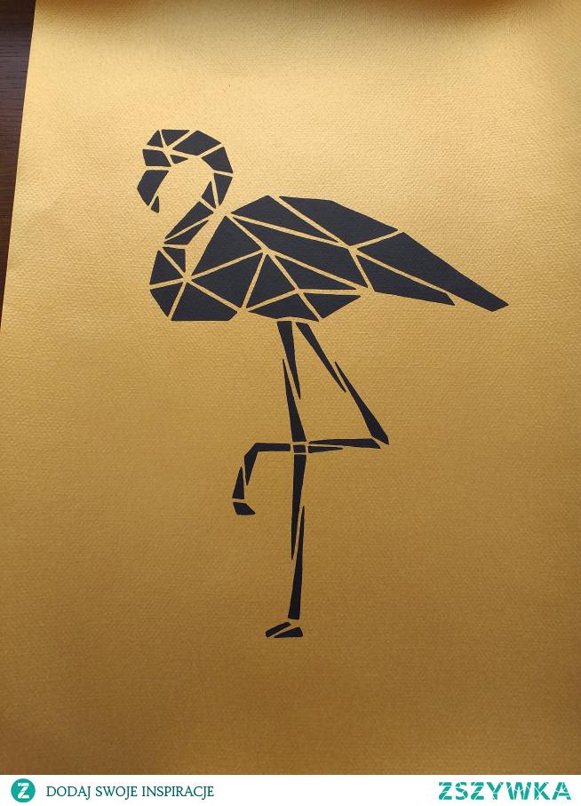 Flaming na złotym tle z werniksu, ręcznie malowany, format A3.