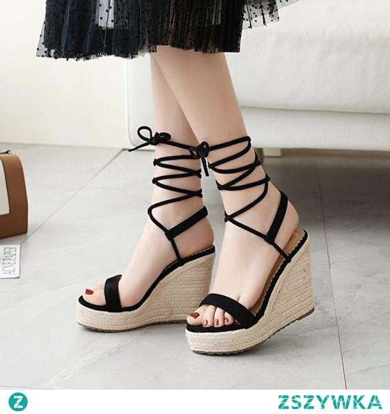 Piękne Czarne Przypadkowy Warkocz Sandały Damskie 2020 Z Paskiem 11 cm Na Koturnie Na Platformie Peep Toe Sandały