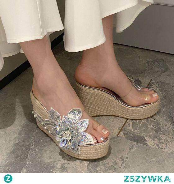 Piękne Srebrny Ogród / Outdoor Sandały Damskie 2020 Perła Rhinestone Cekiny 11 cm Na Koturnie Na Platformie Peep Toe Sandały