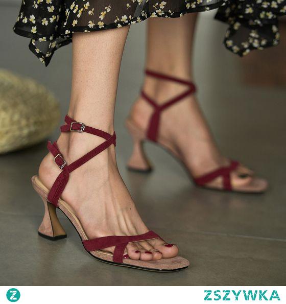 Proste / Simple Burgund Przypadkowy Sandały Damskie 2020 Skórzany Z Paskiem 7 cm Szpilki Peep Toe Sandały