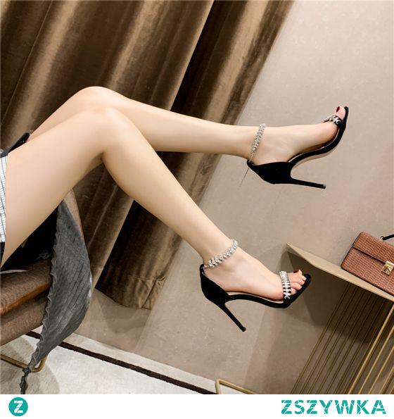 Seksowne Czarne Wieczorowe Sandały Damskie 2020 Rhinestone Z Paskiem 10 cm Szpilki Peep Toe Sandały