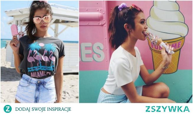 Letnie stylizacje z kolorowym T-shirtem