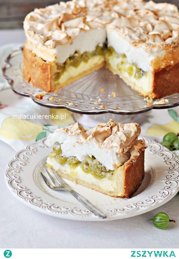 Ciasto budyniowe z agrestem i bezą