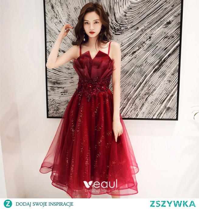 Piękne Burgund Sukienki Koktajlowe 2020