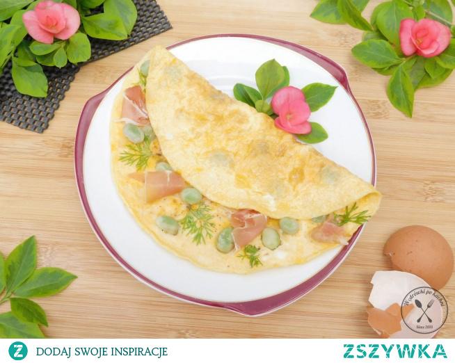 Omlet francuski z szynką parmeńską i bobem link w tagach