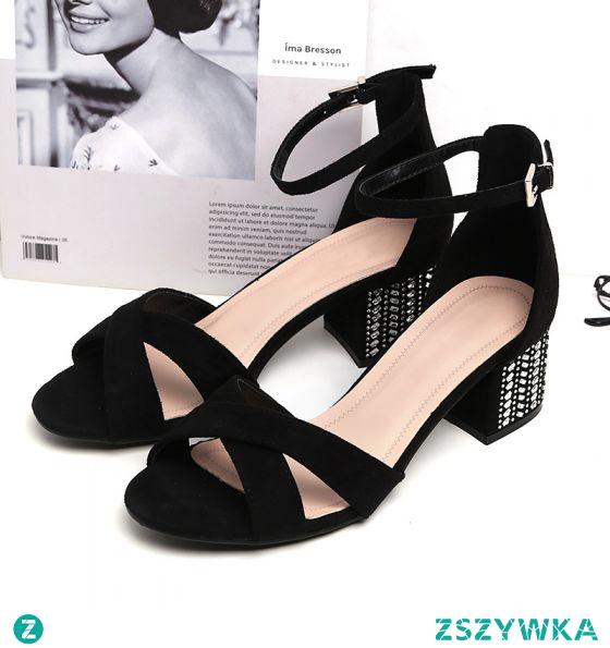 Piękne Czarne Zużycie ulicy Zamszowe Sandały Damskie 2020 Z Paskiem 5 cm Grubym Obcasie Peep Toe Sandały