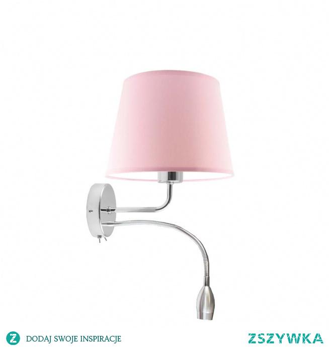 Kinkiet IMPERIA będzie idealną dekoracją do pokoju Twojego dziecka. Oświetlenie nie tylko potowarzyszy Twojemu maluchowi podczas wieczornej zabawy ale także w czasie zasypiania. IMPERIA to niezwykle funkcjonalny model. Oświetlenie poza miejscem na klasyczną żarówkę posiada ruchomy panel LED, który można nakierować w dowolnym kierunku. Lampę wykonano używając najwyższej jakości komponentów. Stelaż lampy stanowią elementy metalowe zaś jej abażur wyprodukowany został z holenderskiej tkaniny tekstylnej podklejonej na folii PVC.  Kinkiet dostępny jest w kilkunastu kolorach abażurów: biały, ecru, jasny szary (gołębi), miętowy, musztardowy, jasny różowy, jasny fioletowy, beżowy, szary (stalowy), czerwony, niebieski, fioletowy, zieleń butelkowa, granatowy, grafitowy, brązowy, czarny, szary melanż (tzw. beton) oraz 2 kolorach stelaża: chrom, stal szczotkowana.