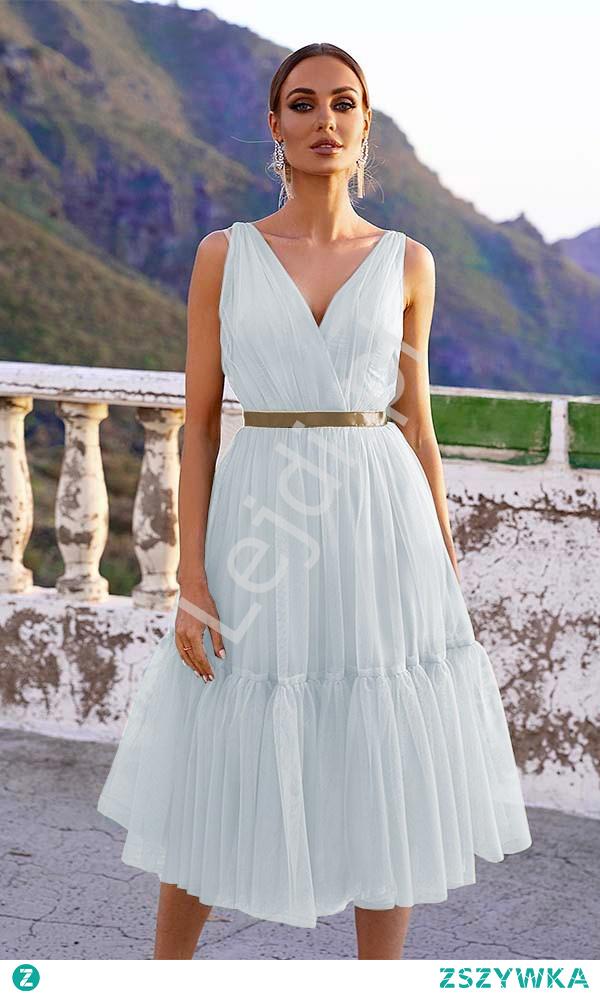 Biała sukienka midi tiulowa. Sukienka na ślub cywilny. Sukienka na przebranie po oczepinach, sukienka na poprawiny. lejdi.pl
