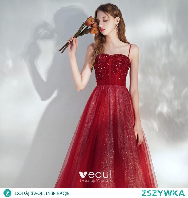 Eleganckie Burgund Sukienki Wieczorowe 2020