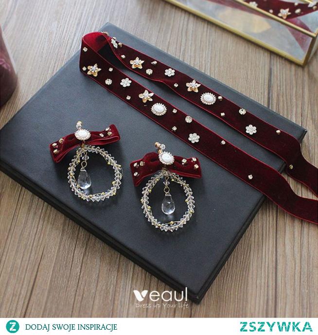 Moda Burgund Welur Opaski na głowę Akcesoria 2020 Kryształ Rhinestone Kolczyki Ozdoby Do Włosów