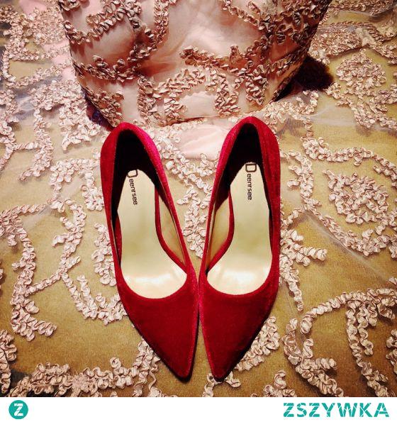 Piękne Czerwone Skórzany Zużycie ulicy Czółenka 2020 Zamszowe 10 cm Szpilki Szpiczaste Czółenka