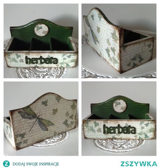 Herbaciarka, pudełko na herbatę, decoupage.