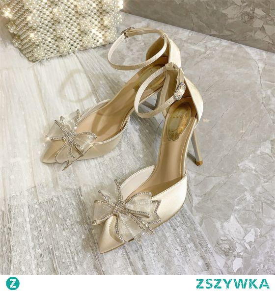 Moda Beżowe Wieczorowe Sandały Damskie 2020 Skórzany Rhinestone Kokarda Z Paskiem 9 cm Szpilki Szpiczaste Sandały