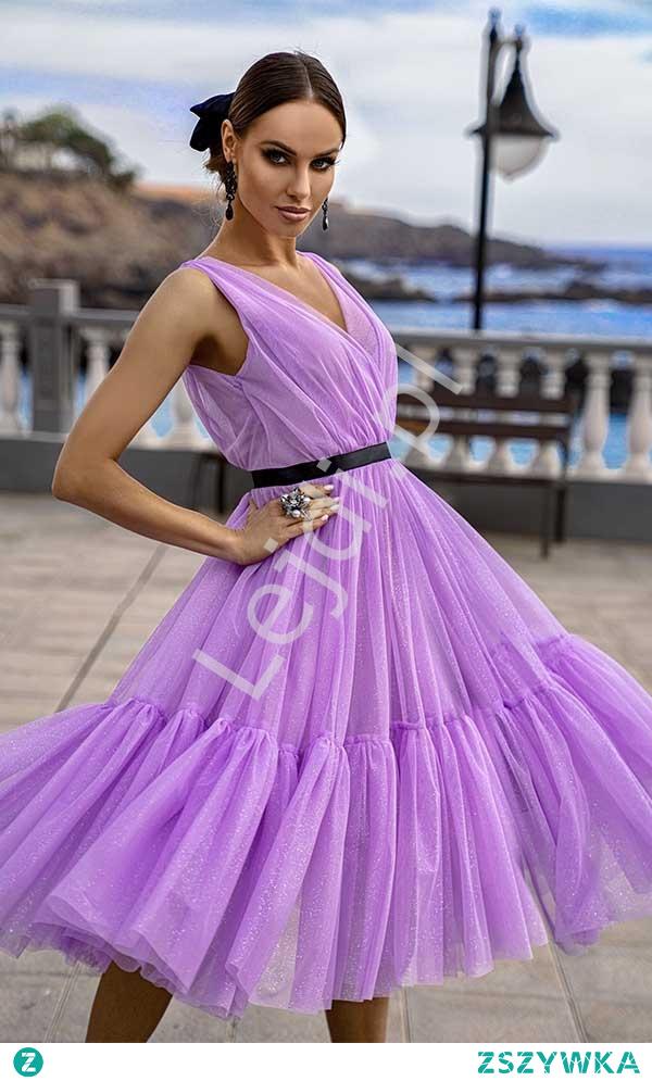 Fenomenalna sukienka wieczorowa w kolorze lawendowym. Sukienka tiulowa na wesele, na urodziny, przyjęcia. lejdi.pl