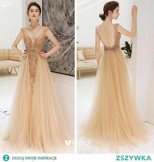 Seksowne Szampan Głęboki V-Szyja Sukienki Wieczorowe 2020  #SukienkiWieczorowe #SukienkiWizytowe