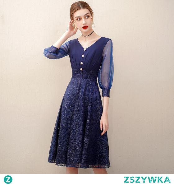 Piękne Granatowe Homecoming Cekiny Sukienki Na Studniówke 2020 Princessa V-Szyja 3/4 Rękawy Długość do kolan Sukienki Wizytowe