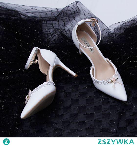 Piękne Białe Na Wesele Sandały Damskie 2020 Z Paskiem Z Koronki Kwiat 9 cm Szpilki Szpiczaste Sandały