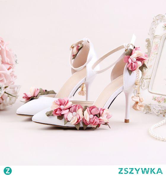 Piękne Białe Kwiat Ogród / Outdoor Sandały Damskie 2020 Z Paskiem 9 cm Szpilki Szpiczaste Sandały