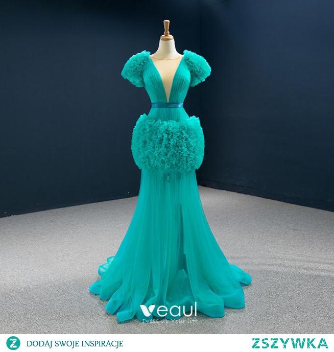 Wysokiej Klasy Jade Zielony Czerwony dywan Sukienki Wieczorowe 2020 #SukienkiWizytowe #SukienkiWieczorowe