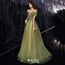 Piękne Limonkowy Sukienki W...