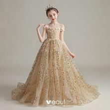 Eleganckie Złote Urodziny Sukienki Dla Dziewczynek 2020 #SukienkiDlaDziewczynek2020 #SukienkiDlaDziewczynek