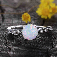 14K/18K Female Opal Diamond Engagement Ring Bezel Set