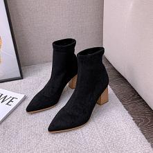 Piękne Czarne Przypadkowy Zamszowe Buty Damskie 2020 7 cm Grubym Obcasie Szpiczaste Boots