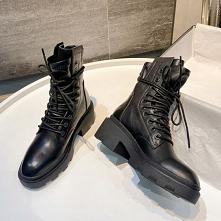 Moda Zima Czarne Zużycie ulicy Botki Buty Damskie 2020 Skórzany 6 cm Grubym Obcasie Okrągłe Toe Boots
