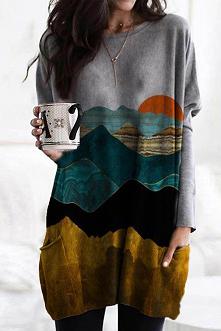 Gradient Mountain Sun Print...
