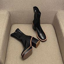 Proste / Simple Zima Czarne Zużycie ulicy Buty Damskie 2020 Skórzany 8 cm Grubym Obcasie Kwadratowe Boots