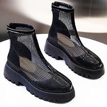 Piękne Lato Czarne Przypadkowy Przebili Buty Damskie 2020 Okrągłe Toe Płaskie Boots