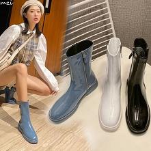 Proste / Simple Spadek Czarne Przypadkowy Botki Buty Damskie 2020 Skórzany Okrągłe Toe Płaskie Boots