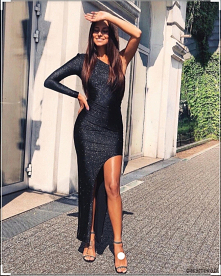 #brokatowa#sukienka maxi-czarna