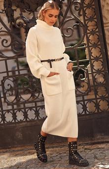 Makadamia #Dzianinowa długa #sukienka z golfem S105